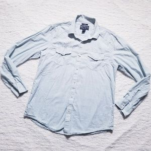 American Rag Men's Button Down with Flap Pockets